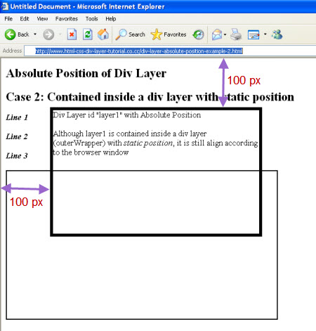 Absolute position of div layer for Div positioning css
